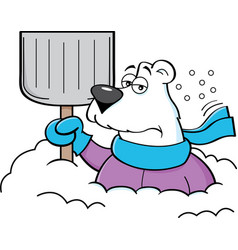 cartoon polar bear holding a snow shovel vector image