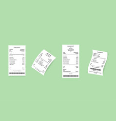 cash register receipts set on a green vector image