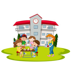 Children having lunch at school vector