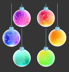 christmas balls with white snowflakes decorations vector image