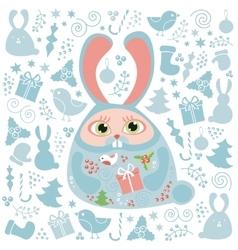Christmas doodle elements set vector image