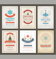 Christmas party posters design set retro vector