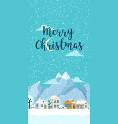 christmas winter vertical landscape with vector image