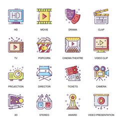 cinema entertainment flat icons set vector image
