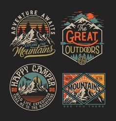 Collection vintage explorer wilderness advent vector