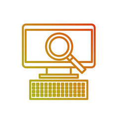 computer and magnifier ecommerce discount vector image