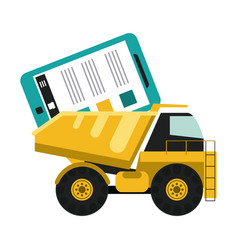 construction truck loading smartphone vector image