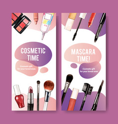 Cosmetic flyer design with mascara lipstick brush vector