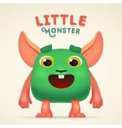 Cute cartoon green alien creature character vector