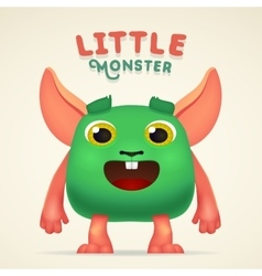 Cute Cartoon Green alien Creature character with vector image