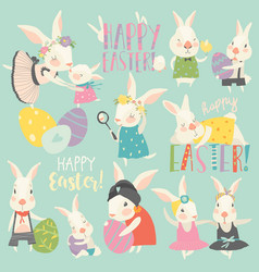 cute rabbit and bunny with easter eggs vector image