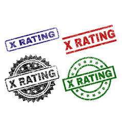 Damaged textured x rating seal stamps vector