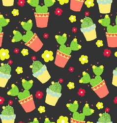 Dark pattern with cactus and flowers vector