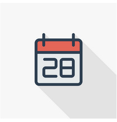 date and time calendar thin line flat color icon vector image