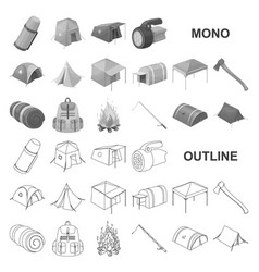 Different kinds of tents monochrom icons in set vector