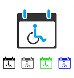Disabled person calendar day flat icon vector