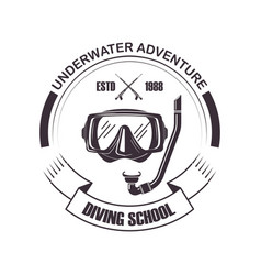 diving school scuba mask icon vector image