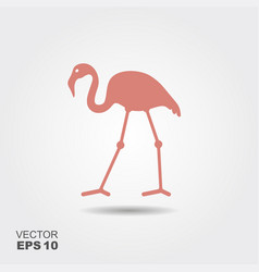 flat design flamingo icon vector image