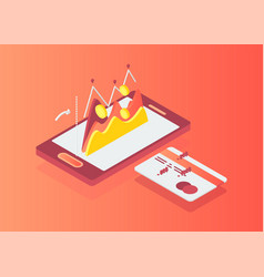 flat isometric shopping cart on smartphone screen vector image
