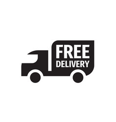 free delivery shipping - black icon design vector image