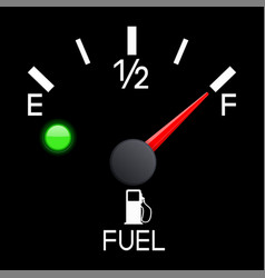 Fuel gauge full tank car dashboard black scale vector