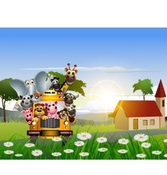 funny animal cartoon on yellow car and tropical fo vector image