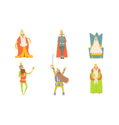 funny king cartoon characters posing in different vector image