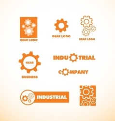 Gear wheel logo icon set vector image