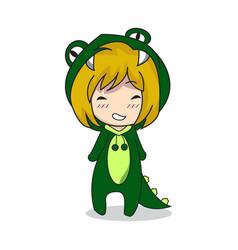 Girl character design mascot crocodile vector