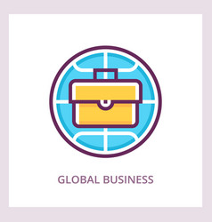 global business icon linear pictograph vector image