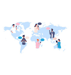 globalisation people avatars on world map vector image