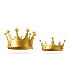 Golden realistic king or queen crown set with gems vector