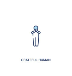 Grateful human concept 2 colored icon simple line vector