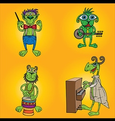Green alien musicians band with banjo piano and dr vector