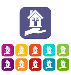 hand holding house icons set vector image