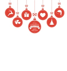 Hanging baubles with Christmas symbols vector image