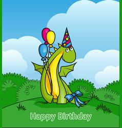 happy birthday cute cartoon dragon wearing party vector image