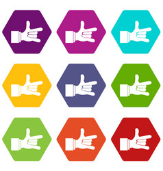 i love you hand sign icon set color hexahedron vector image vector image