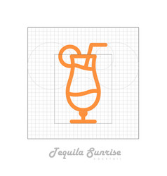 icon of cocktail with modular grid tequila sunrise vector image