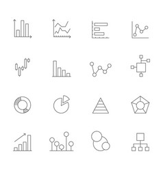 icons charts and diagrams mono line pictures vector image