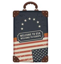 image a travel bag with flags usa and eu vector image