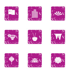 Incense icons set grunge style vector