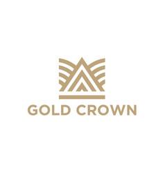 Line art gold crown logo design vector