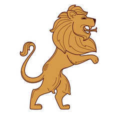 Lion royal symbol heraldry mane and snake tongue vector