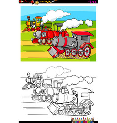 locomotives characters group color book vector image