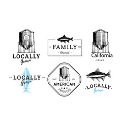 logos set with a farm hopper and a trout vector image