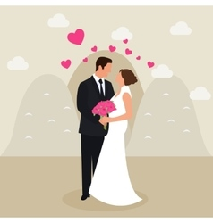 man woman couple married see eyes wedding dress vector image