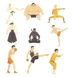 Martial Arts Fighters Performing Different vector