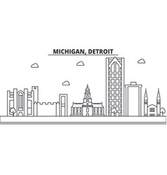 Michigan detroit architecture line skyline vector