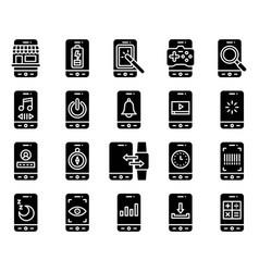 Mobile application icon set 3 solid stye vector